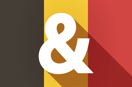 ampersand: Illustration of a long shadow Belgium flag with an ampersand Illustration