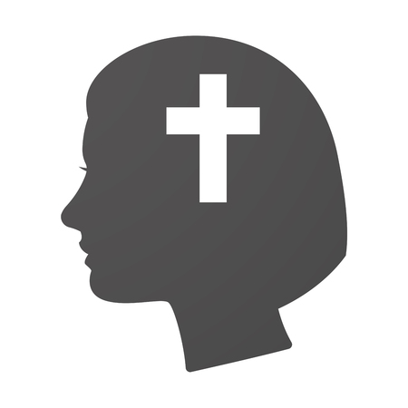 christian young: Illustration of an isoalted female head icon with a christian cross