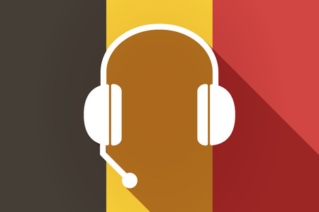 hands free: Illustration of a long shadow Belgium flag with  a hands free phone device