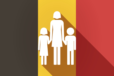 single family: Illustration of a long shadow Belgium flag with a female single parent family pictogram