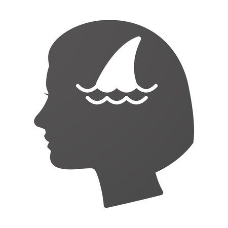 dangerous woman: Illustration of an isoalted female head icon with a shark fin