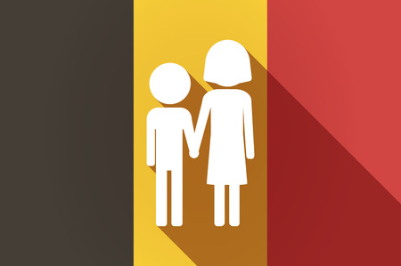 orphan: Illustration of a long shadow Belgium flag with a childhood pictogram