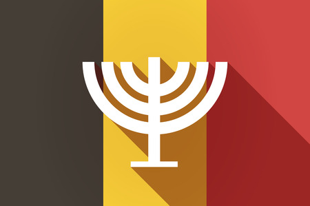 jews: Illustration of a long shadow Belgium flag with a chandelier Illustration