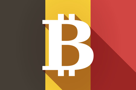p2p: Illustration of a long shadow Belgium flag with a bit coin sign