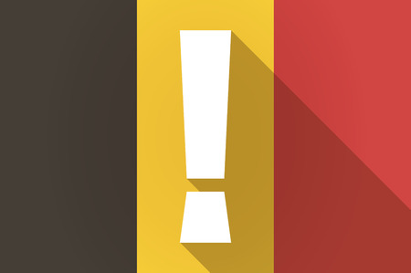 admiration: Illustration of a long shadow Belgium flag with an admiration sign