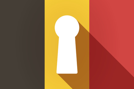 key hole: Illustration of a long shadow Belgium flag with a key hole