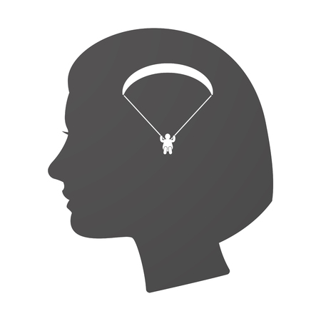 glide: Illustration of an isoalted female head icon with a paraglider