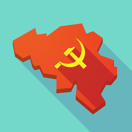 communism: Illustration of a long shadow map of Belgium with  the communist symbol Illustration