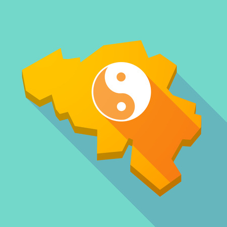 karma graphics: Illustration of a long shadow map of Belgium with a ying yang Illustration