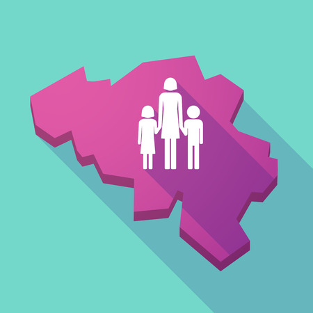 single family: Illustration of a long shadow map of Belgium with a female single parent family pictogram Illustration