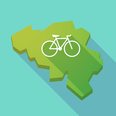 Illustration of a long shadow map of Belgium with a bicycle Illustration