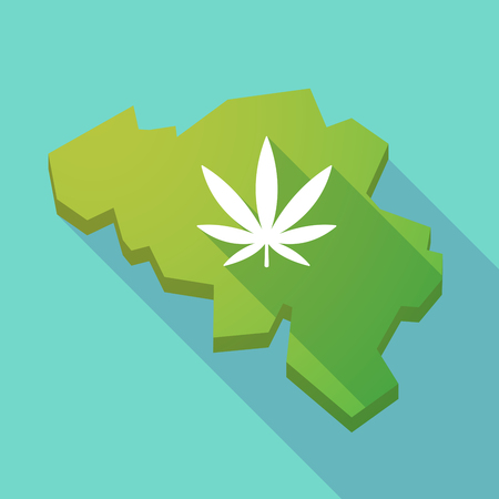 marihuana: Illustration of a long shadow map of Belgium with a marijuana leaf