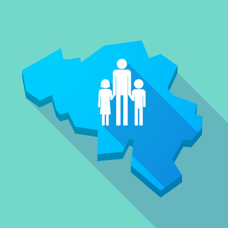 single parent: Illustration of a long shadow map of Belgium with a male single parent family pictogram