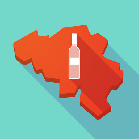 map wine: Illustration of a long shadow map of Belgium with a bottle of wine