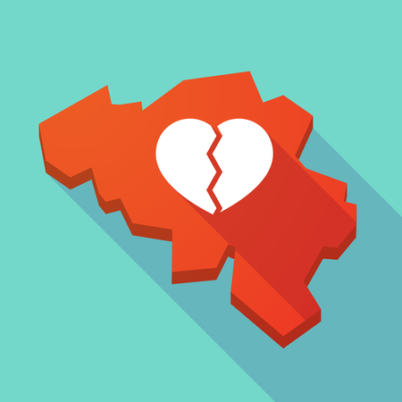 breakup: Illustration of a long shadow map of Belgium with a broken heart