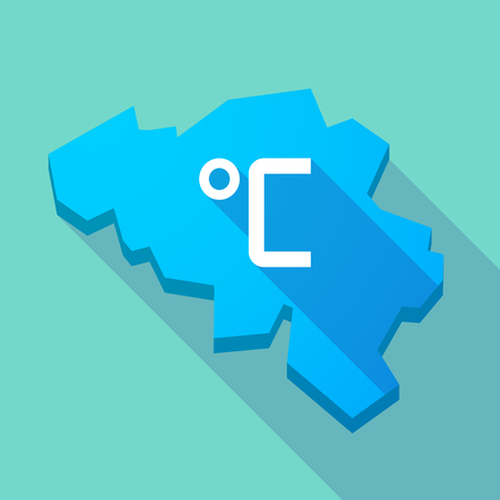 celsius: Illustration of a long shadow map of Belgium with  a celsius degree sign
