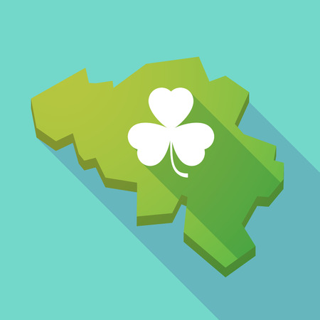 irish map: Illustration of a long shadow map of Belgium with a clover Illustration