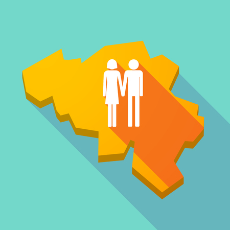 heterosexual: Illustration of a long shadow map of Belgium with a heterosexual couple pictogram