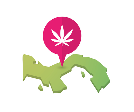marihuana: Illustration of a map of Panama with a map marker and a marijuana leaf Illustration