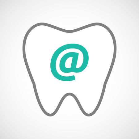 oral communication: Illustration of a line art tooth icon with an at sign