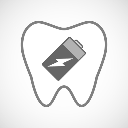 lithium: Illustration of a line art tooth icon with a battery