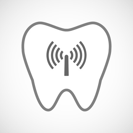 comunicacion oral: Illustration of a line art tooth icon with an antenna