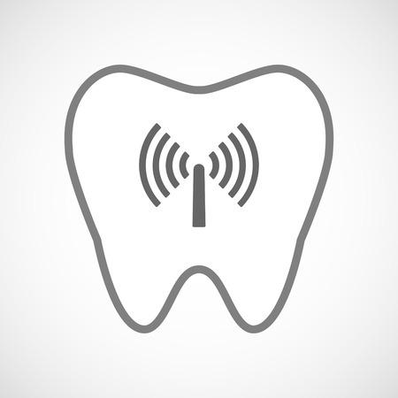comunicacion oral: Ilustraci�n de un icono de dientes l�nea de arte con una antena Vectores
