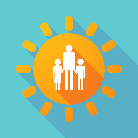 single family: Illustration of a long shadow sun with a male single parent family pictogram Illustration