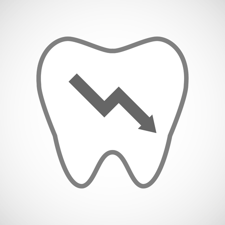 descending: Illustration of a line art tooth icon with a descending graph