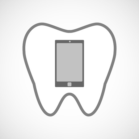oral communication: Illustration of a line art tooth icon with a smart phone