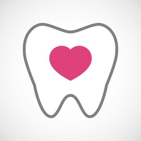 seduction: Illustration of a line art tooth icon with a heart