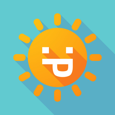 sacar la lengua: Ilustración de una larga sombra de sol con una cara de texto lengua fuera