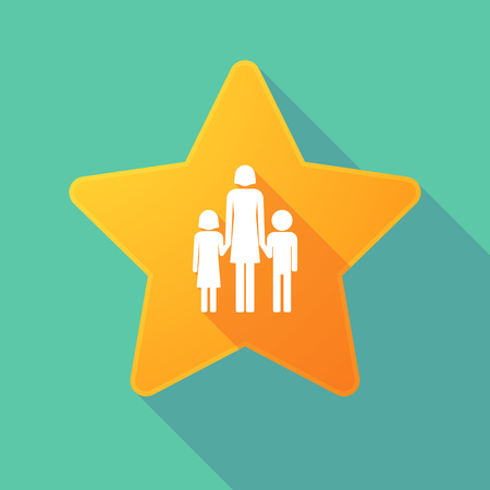 single parent: Illustration of a long shadow star with a female single parent family pictogram Illustration
