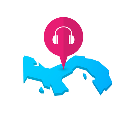 ear phones: Illustration of a map of Panama with a map marker and a earphones Illustration
