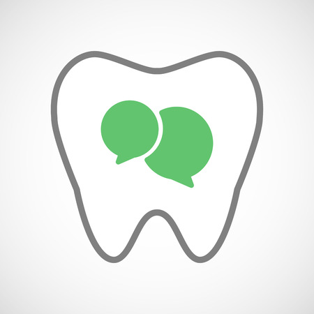 comunicacion oral: Ilustración de un icono de la línea de arte diente con globos de historietas