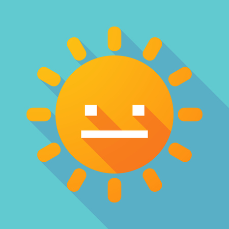 emotionless: Illustration of a long shadow sun with a emotionless text face