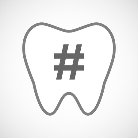 hash: Illustration of a line art tooth icon with a hash tag