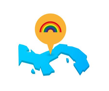 Ejemplo de un mapa de Panamá con un marcador de mapa y un arco iris