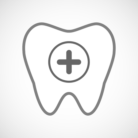 subtract: Illustration of a line art tooth icon with a sum sign