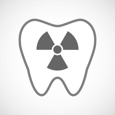 radio activity: Illustration of a line art tooth icon with a radio activity sign Illustration