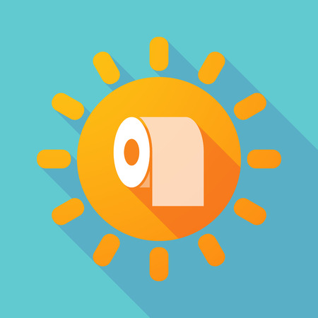 absorbent: Illustration of a long shadow sun with a toilet paper roll Illustration