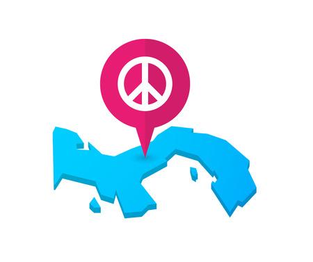 position d amour: Illustration d'un plan de Panama avec un marqueur de carte et un signe de paix Illustration