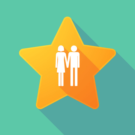 heterosexual couple: Illustration of a long shadow star with a heterosexual couple pictogram Illustration