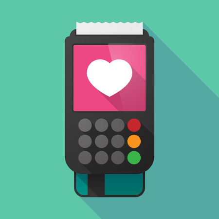 seduce: Illustration of a long shadow dataphone with a heart