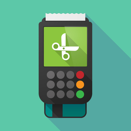 pay cuts: Illustration of a long shadow dataphone with a scissors Illustration