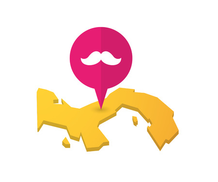 hair pins: Illustration of a map of Panama with a map marker and a moustache