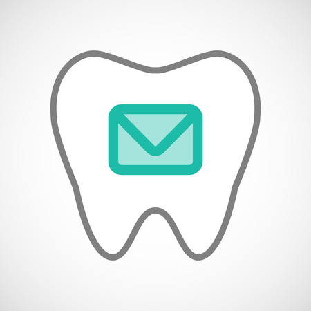 oral communication: Illustration of a line art tooth icon with an envelope Illustration