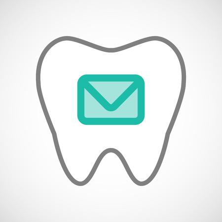 comunicacion oral: Ilustraci�n de un icono de la l�nea de arte del diente con un sobre