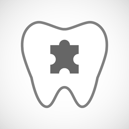 art piece: Illustration of a line art tooth icon with a puzzle piece