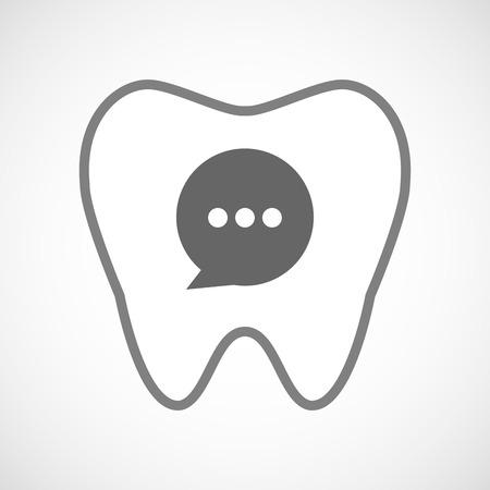 comunicacion oral: Ilustraci�n de un icono de la l�nea de arte del diente con un globo de c�mic